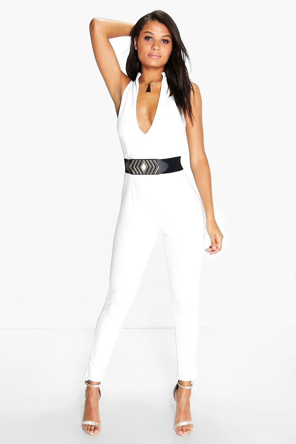 Suzi Structured Neckline Belted Jumpsuit
