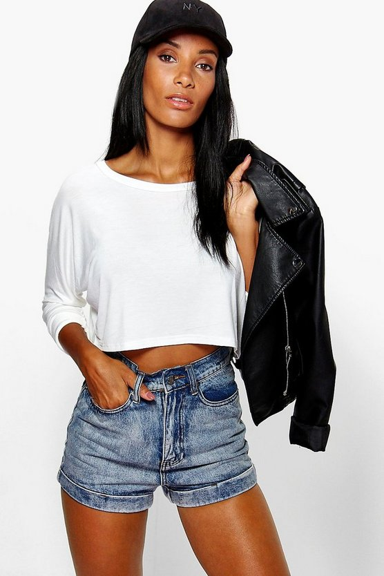 Martha Batwing Slash Neck Crop
