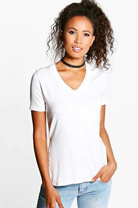 Alice Extreme V Neck Front Side Split Tee