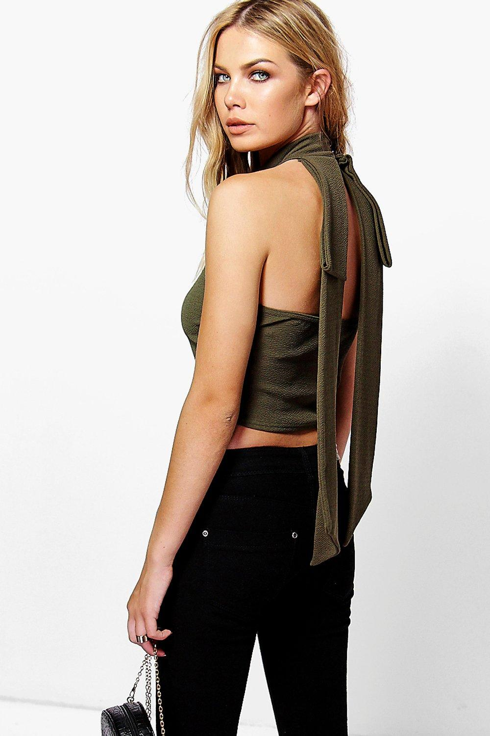 Amelia Bow Back High Neck Top