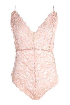 Strappy Scallop Edge Lace Bodysuit