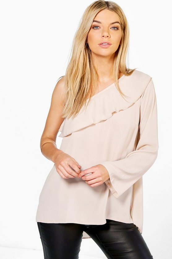 Eliza Woven Frill One Shoulder Top