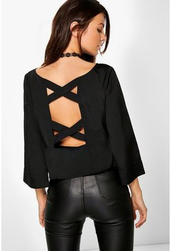 Patrice Woven Strappy Back Frill Hem Top
