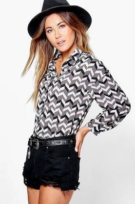 Megan Printed Woven Oversized Shirt