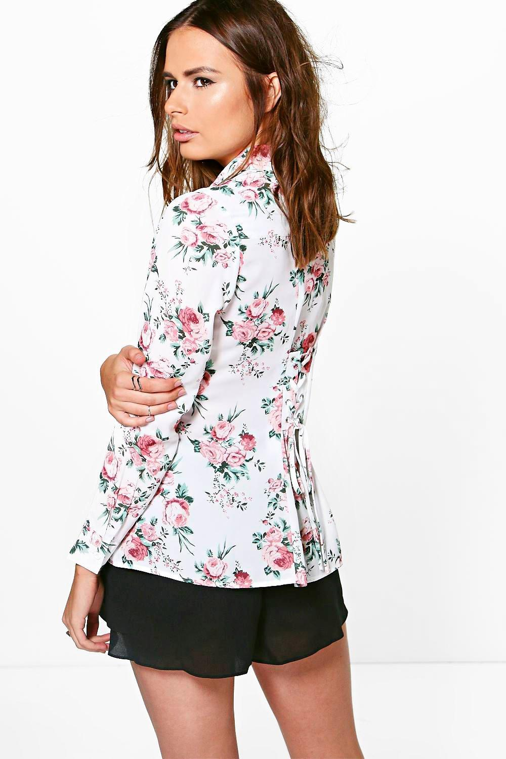Wendy Floral Lace Up Back Shirt