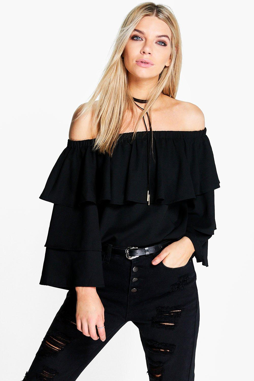 Becca Woven Frill Sleeve Off The Shoulder Top