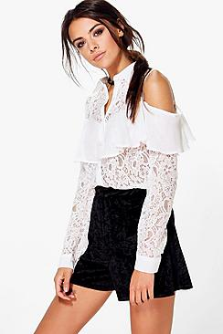 Annie Woven Lace Cold Shoulder Frill Shirt
