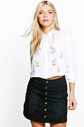 Emily Embroidered Woven Cropped Shirt