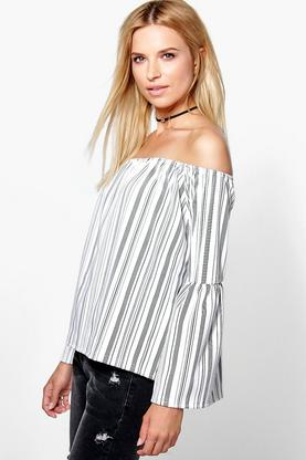 Maggie Wide Sleeve Stripe Off The Shoulder Top