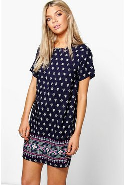 Sophie Cap Sleeved Border Print Shift Dress