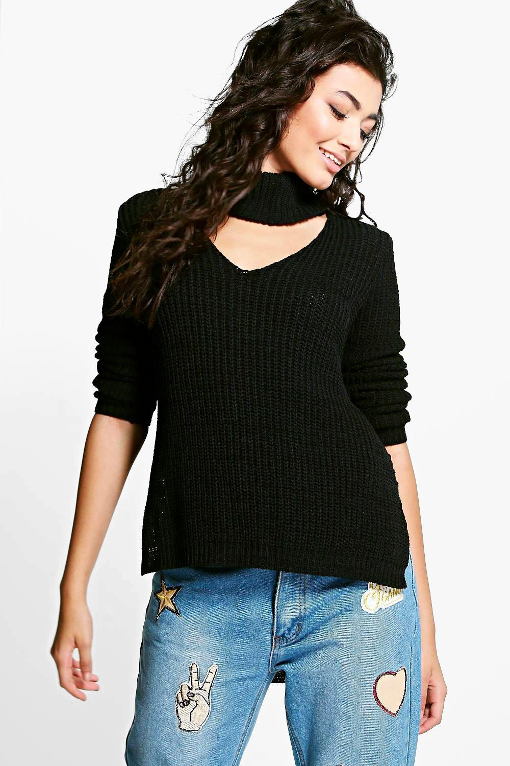 Mia Roll Neck Plunge V Neck Oversized Jumper