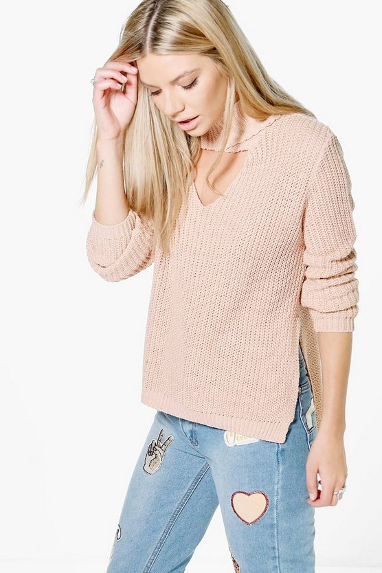 Eloise Wrap Choker Neck Fisherman Jumper