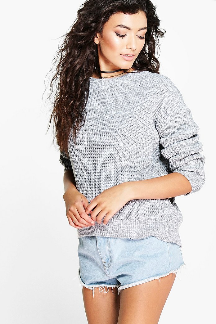 Lucy Marl Oversized Fisherman Jumper