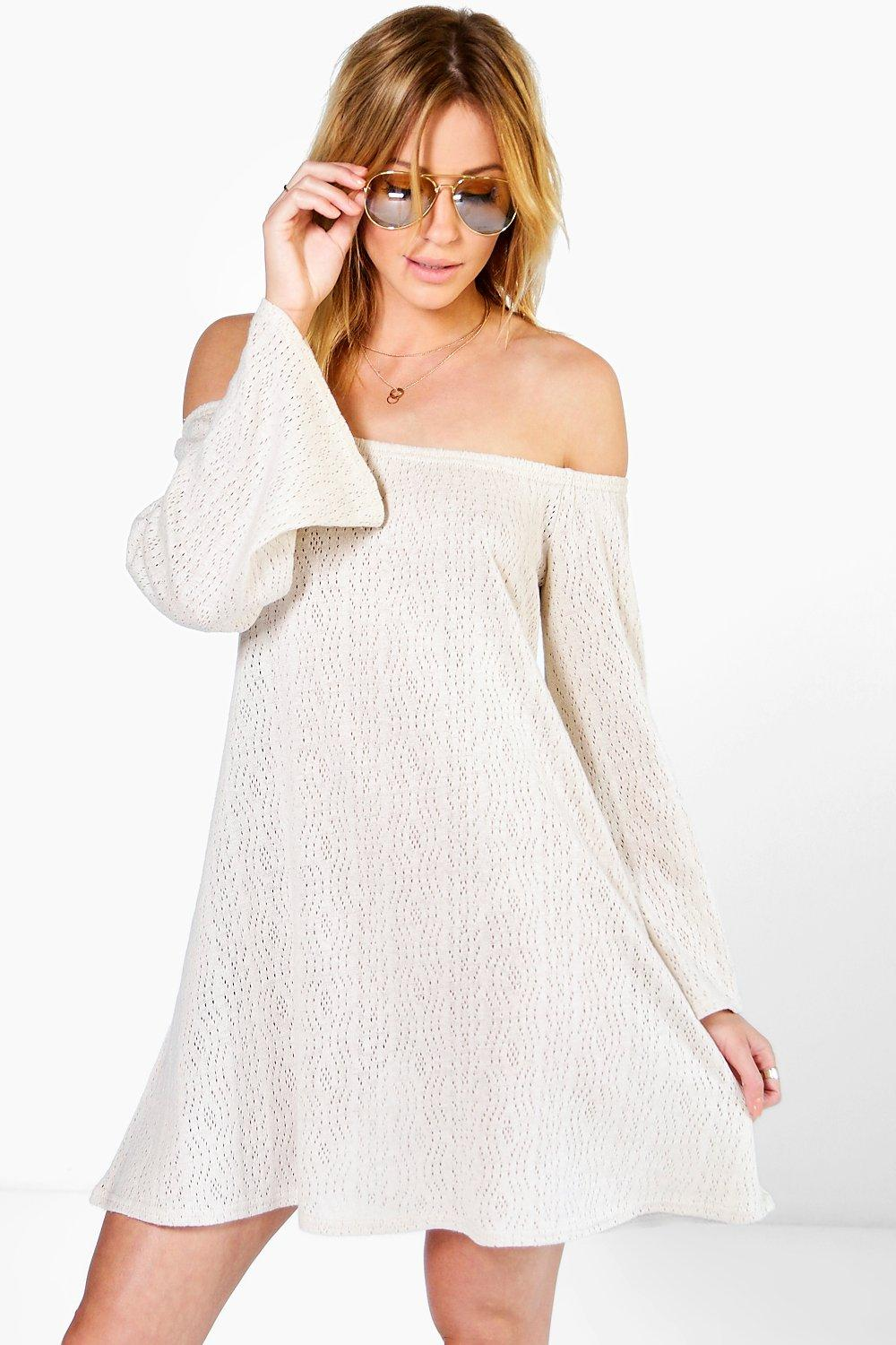 Sophie Bardot Bell Sleeve Swing Knitted Dress