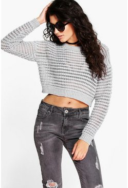 Maisie Crop Bubble Stitch Jumper