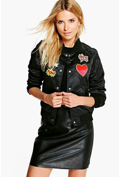 Grace Quilted Satin Badge Bomber