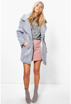 Alice Teddy Boucle Marl Rever Collar Coat