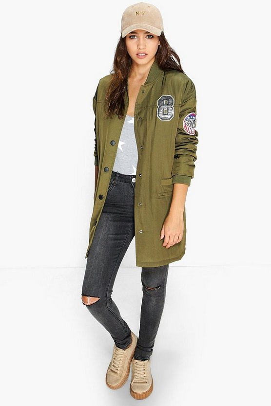Alisha Longline Padded Badged Bomber Jacket