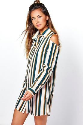 Suki Cold Shoulder Stripe Shirt Dress
