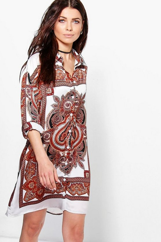 Osheanne Paisley Shirt Dress