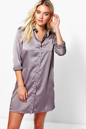 Harriet Satin Shirt Dress