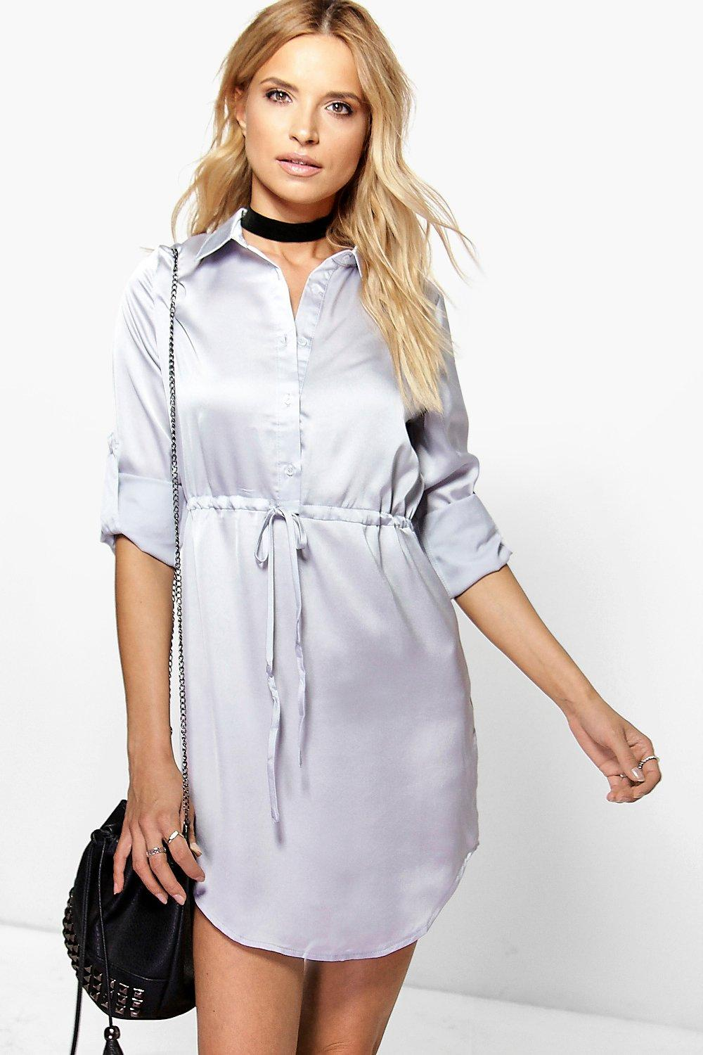Amie Satin Drawstring Waist Shirt Dress
