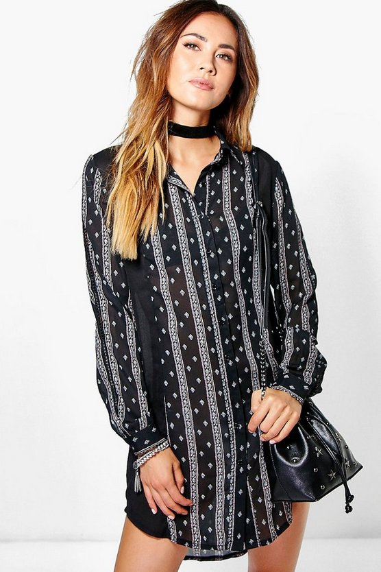 Selina Ladder Trim Shirt Dress