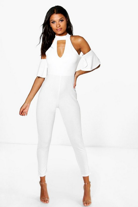 Olivia Open Shoulder Skinny Leg Jumpsuit