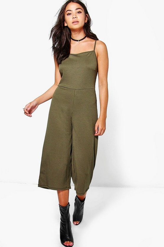 Sarah Strappy Ribbed Culotte Jumpsuit