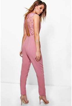 Juliet Crochet Detail Open Back Jumpsuit