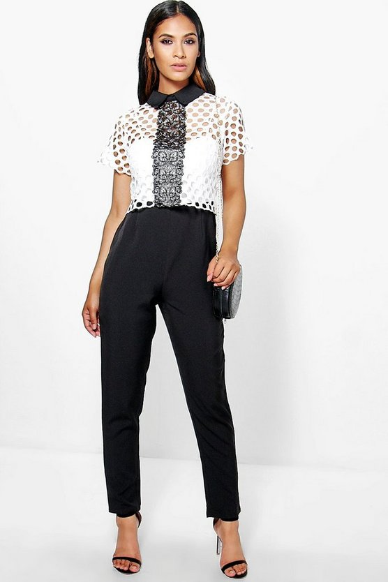 Boutique Freya Crochet Contrast Collar Jumpsuit