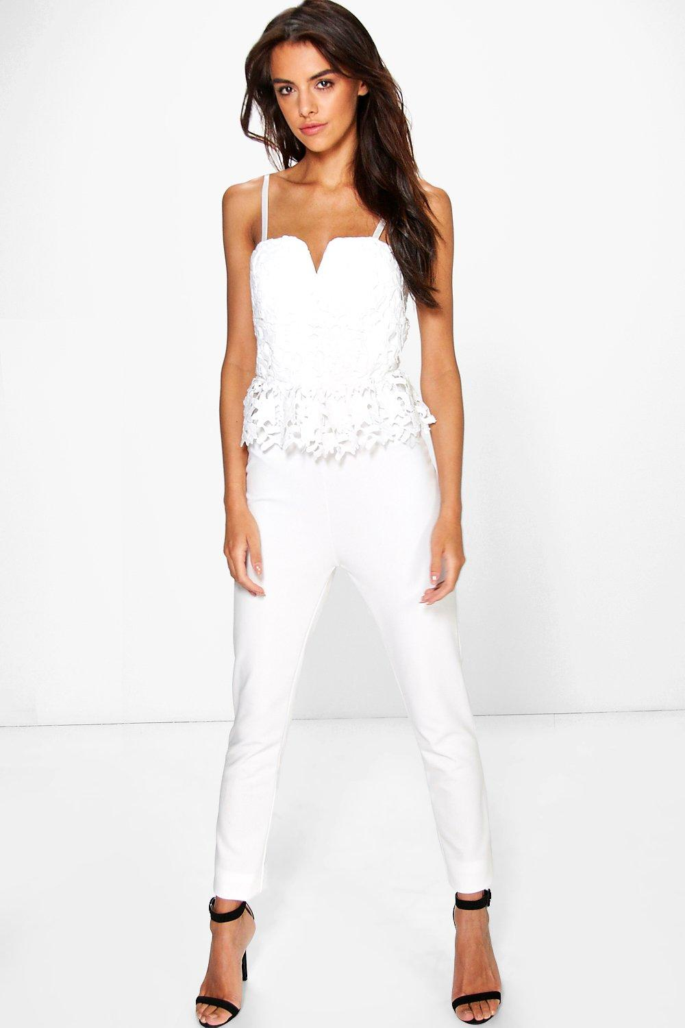Boutique Kellie Lace Peplum Jumpsuit