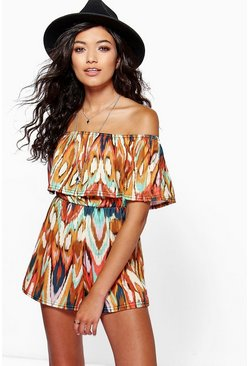 Elly Aztec Print Off The Shoulder Playsuit