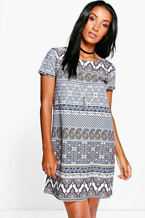 Eva Ethnic Printed Shift Dress