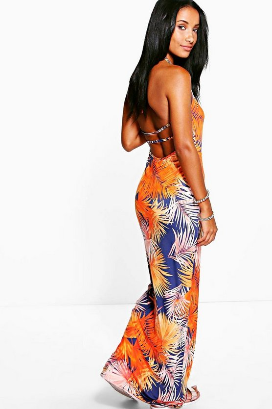 Clara Strappy Back Tropical Maxi Dress