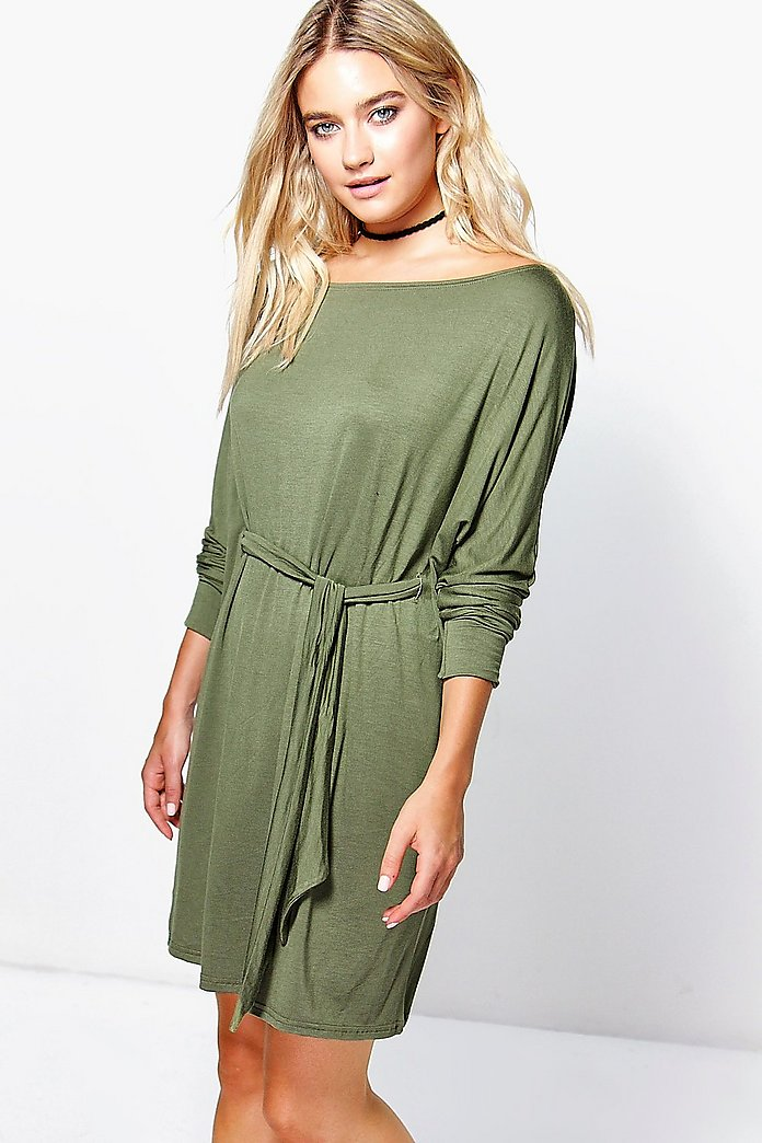 Jenny Knot Front Slash Neck Shift Dress
