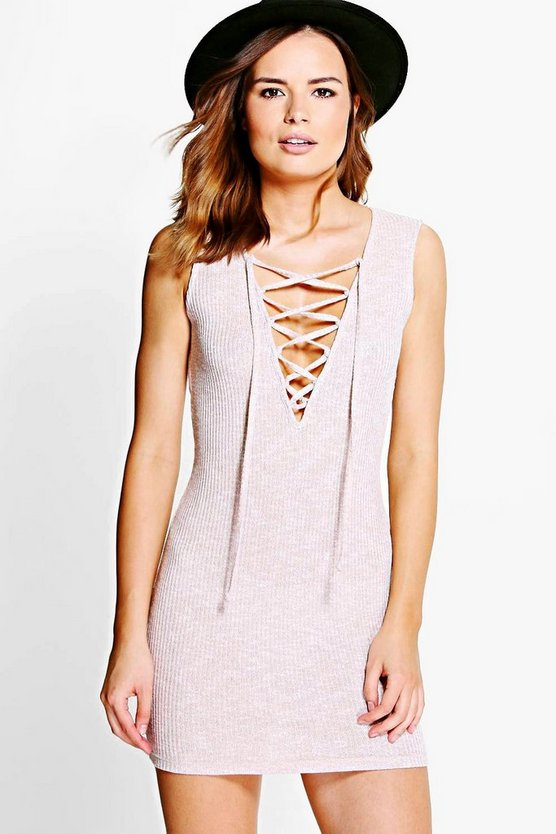 Katy Lace Up Front Plunge Mini Dress
