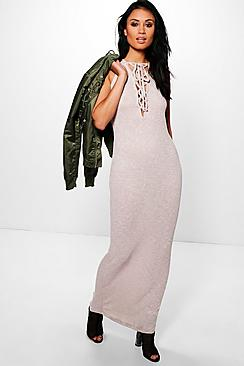 Tina Lace Up Front Plunge Maxi Dress