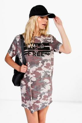 Nicki Camo Printed T-Shirt Dress