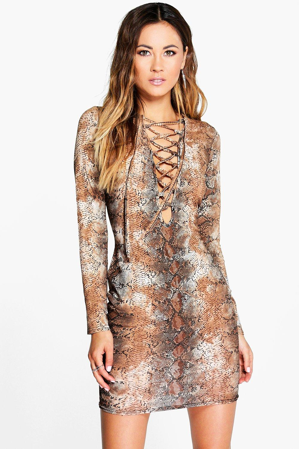 Zoe Lace Up Front Bodycon Dress