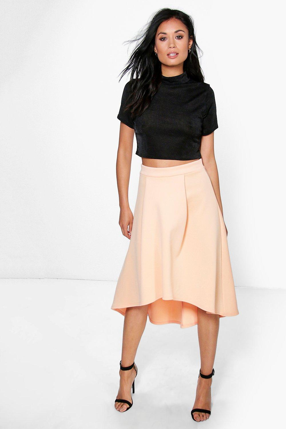 Honey Dip Hem Bonded Scuba Skater Skirt