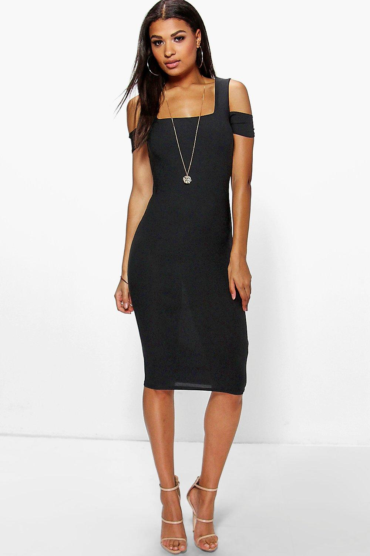 Crepe Square Neck Midi Dress black