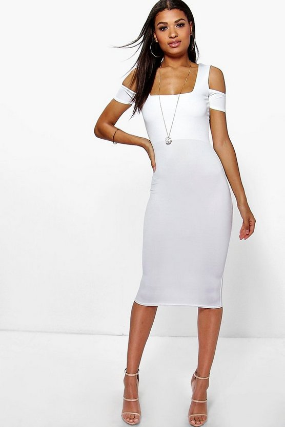 Charlotte Crepe Square Neck Midi Dress