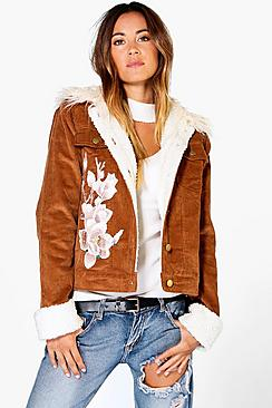 Ava Corduroy Sherpa Cuff & Fur Collar Applique Jacket