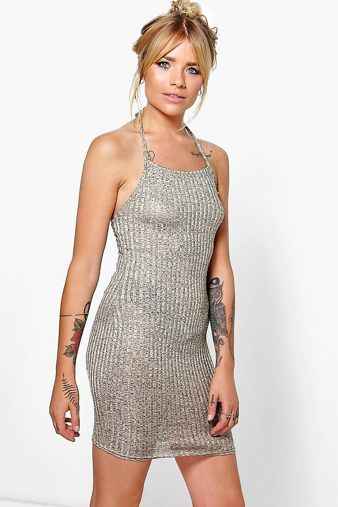 Tina Halterneck Metallic Rib Bodycon Dress