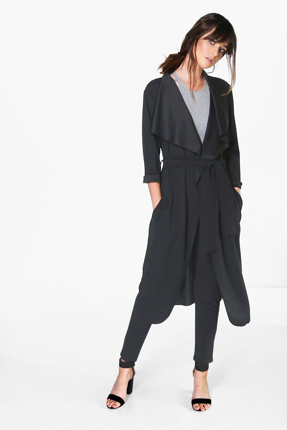 Shawl Collar Belted Scuba Crepe Duster black