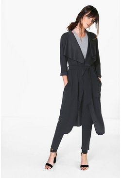 Kat Shawl Collar Belted Scuba Crepe Duster