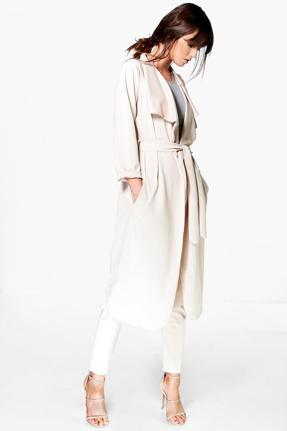 Shawl Collar Belted Scuba Crepe Duster stone