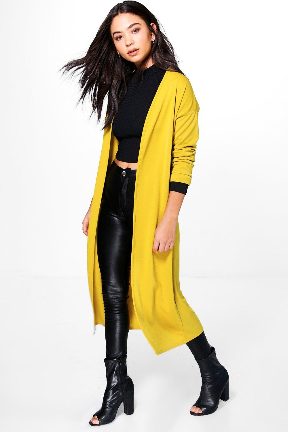 Collarless Duster - chartreuse