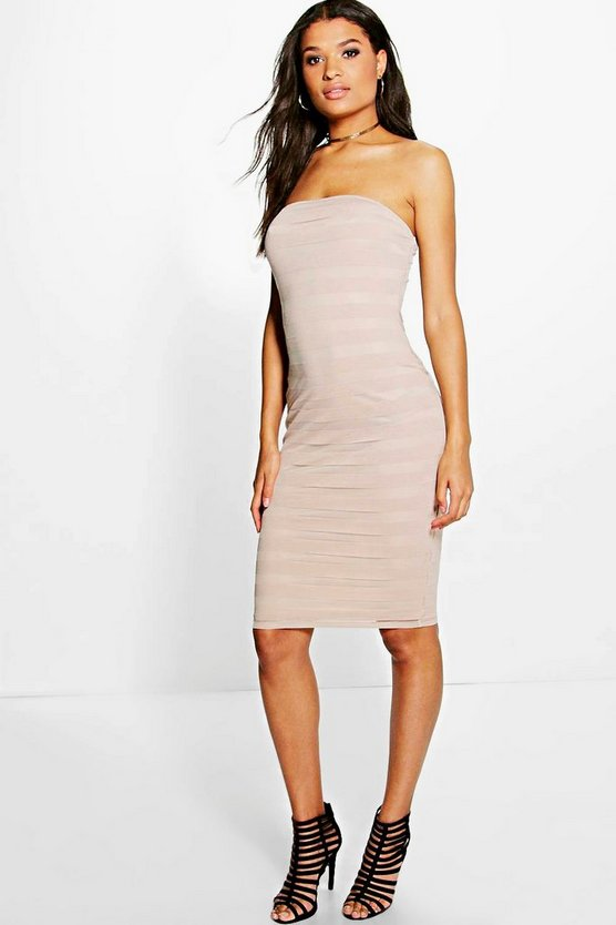 Jenny Mesh Panelled Midi Bodycon Dress